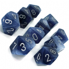 Black & Silver Phantom D10 Ten Sided Dice Set